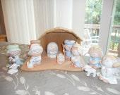 Nativity Set, Vintage, Bumpkins, 1980s,Wood Creche, Children, Pastel Colors, Ceramic, Religious, Christian, Cottage
