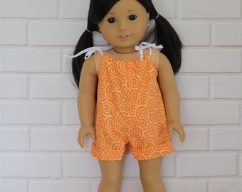 Orange Romper Doll Clothes to fit 18 inch dolls to 20 inch dolls such as American Girl & Australian Girl dolls