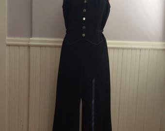 1970's Black Polyester One Piece Jumpsuit / 70's Poly Jumpsuit / Vintage 1970's Clothing / Vintage Club Wear