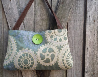 Handbag Purse Tote in Blue and Cream Gears with Green Button