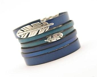 Blue Teal Men's Leather Bracelet, Stainless Steel Modern Cuff Men's Bracelet, Minimalist Men's Jewelry, gift for him