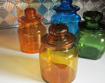 Vintage Amber Glass Jar Apothecary Jar Amber Glass with Lid Cookie Jar Kitchen Canister Tea Bags Retro Amber Glass Vintage Glass Jar