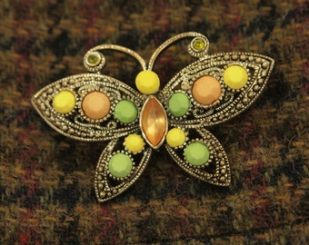 """Vintage Rhinestone Butterfly Brooch Pin - Pretty Pastels - Aged Silver Finish - Highly Textured Cast Metal Frame - Faux Marcasite - 2  1/8"""""""