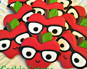 Nerdy Apples Teacher Appreciation Back to School Decorated Cookie Favors One Dozen