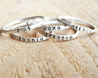 Super Skinny Stackable Name Rings in sterling silver and 14K gold, Personalized Stacking Rings, Custom name rings, Skinny gold name rings