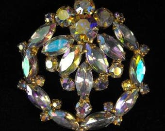 Rhinestone Brooch Classic Aurora Borealis Beauty High Quality Vintage Jewelry Deluxe Stones