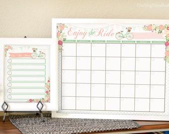 Pretty Monthly Calendar - Floral Calendar - Printable Monthly Calendar - Dry Erase Calendar - Printable Menu Planner - Weekly Menu Planner -