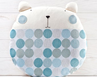 Blue Baby Shower, Bear Pillow, Blue Round Pillow, Baby Shower Gift, Baby Boy Bedding, Nursery Decor Blue, Cute Housewarming Gift, Mom Gift