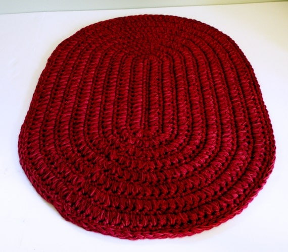 Burgundy Red Oval Rug Thick N Plush Bath Mat Crocheted