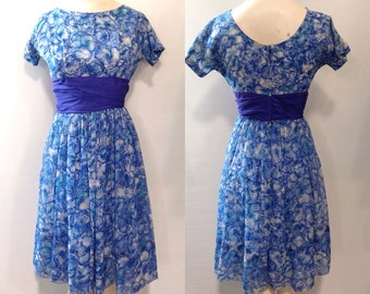 Midcentury Floral Chiffon Party Dress