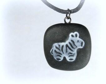 Zebra Necklace, Polymer Clay Jewelry
