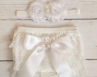 Baby Girls White Lace Bloomer Set-White Bloomers-Christening Baptism Baby Outfit-Lace Bloomers-white baby outfit-Baby Shower-white headband