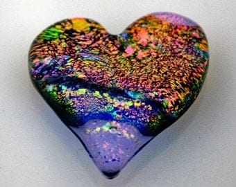 Dichroic Cabochon, Glass Heart Tile, Handmade Tile, Pocket Heart, Fused Heart Tile, Meditation Stone, Decorative Tile