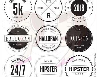 DIY Business Logo Branding Stamp Frames Digital Wedding Monogram Hipster Label Tags VECTOR Clipart Black Circle Frames Commercial Use 10198