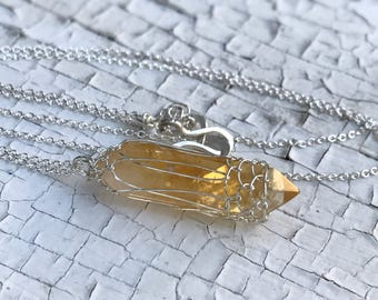 Citrine Crystal Point Necklace - Solid Sterling Silver - Double Terminated Citrine Crystal