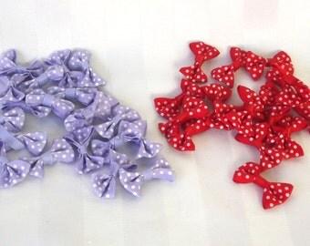 Ribbon Bows - Polka Dot Bows - Craft Supplies - Hair Supplies - Embellishments - Bow Appliques - Purple Bows - Red Bows - Party Favor Bows
