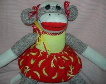 Classic Red Heel Sock Monkey Doll Girl With Banana Print Skirt Yellow Or Brown
