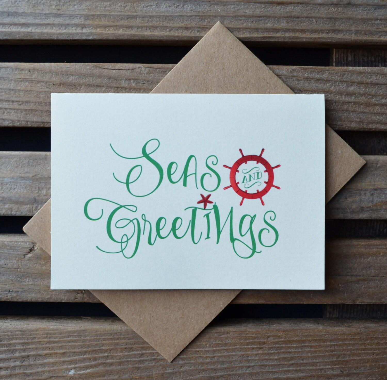 Seas and greetings holiday cards cream christmas cards set of 5 note seas and greetings holiday cards cream christmas cards set of 5 note cards christmas beach holiday kristyandbryce Gallery