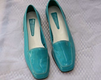 Vintage Turquoise Patent Leather Womens Loafers Never Worn