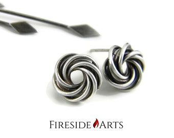 Mobius Ball Earrings. Celtic love knot Sterling Silver Stud.  Antique patina matte finish. spiral swirl flower chainmail Metalsmith