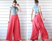 Vintage coral red high waist back tie wide leg palazzo pants summer trousers M L