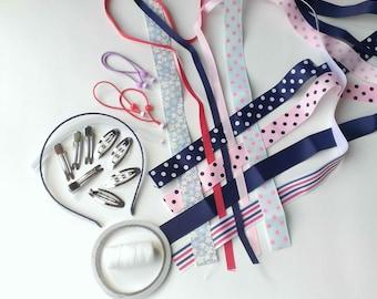 Ribbon Set, DIY Hair Bow Ribbon, DIY Hair Accessories Material Set, 1 yard 9 pieces Ribbons for set.