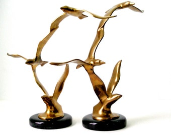 Pair Vtg Solid BRASS BIRD SCULPTUREs Flying Seagulls on Heavy Marbled Black Stone Base 12x11x4 Matched 2 pc Set Decor Bookends MCM  Ex Cond