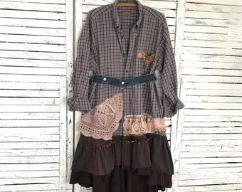 Prairie Chic Duster Coat XL, Upcycled Clothing for Women, Shirt Dress, Hippie Boho, Junk Gypsy