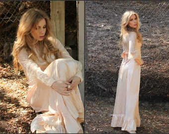 Vintage 70s ethereal Boho Lace angelic grecian maxi dress XS S
