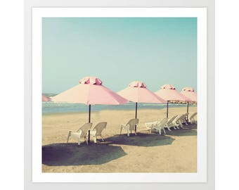 SALE, Beach prints, beach photography, bathroom art, pink umbrella art, large print, bathroom wall art, canvas art, canvas print, pale blue