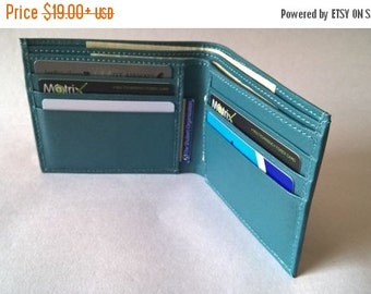 CHRISTMAS SALE Teal Blue Gray Men's leather wallets, christmas presents, wedding gift for men, Boyfriend Groomsmens gift, personalized leath