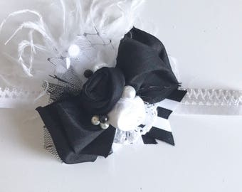 Black and white bow heafband- m2m Well Dressed Wolf