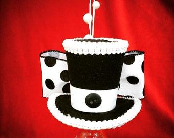 Black and white Polka dot mini top hat fascinator costume accessorie