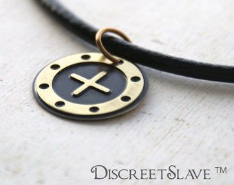 Discreet slave pendant for female porthole window style. Day collar For slaves, submissives and owned persons in a BDSM relationship