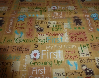 "Babys firsts, cotton fabric,  supplies, 35x44"", end of bolt, ready to ship"