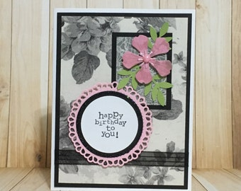 Birthday card, handmade card, greeting card, floral design, occasion card