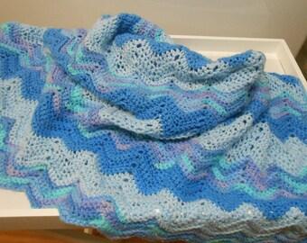 vintage baby crochet afghan blanket blue chevron pattern