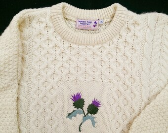 """Vintage Highland Home Industries Fisherman """"Thistle"""" Sweater - Made in Scotland XL"""