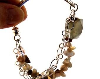 Vintage Spoon Bracelet w/BOTSWANA Agate & Swarovski Crystal - Silverware Jewelry - ss Magnetic Clasp - SPRING BOUQUET 1954 - 7.25 inch Wrist