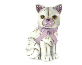 Vintage Cat Figurine Geo Z Lefton 06150  Gray Purple and Lavender Ceramic