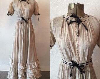Longbourn Cotton Dress | Edwardian Cotton Dress| 1900's Cotttin Ruffle garden Dress