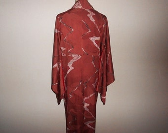 Antique kimono - Burgundy, Prewar