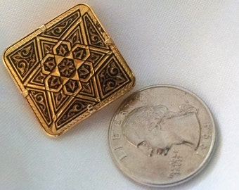 Brooch Vintage Damascene Star of David, Mogen David,  18KT Gold Hand Etched Plated Toledo Spain,Judaica. Symbol of Faith Rare Collectible