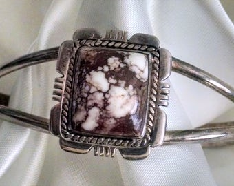 Cuff Vintage Handmade Southwestern Sterling Silver with Rare Wild Horse Magnesite Stone or Appaloosa Stone Tribal Boho Chic Signed