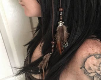 Boho Feather Elephant Charm Hair Pins (set of 2) - festival jewelry feathers bohemian hippie summer fun tribal hair clips wood beads rustic