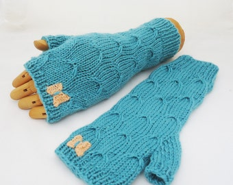 Fingerless Mittens in Blue, Catching Butterfly Fingerless Mittens, Handknitt butterfly Mittens