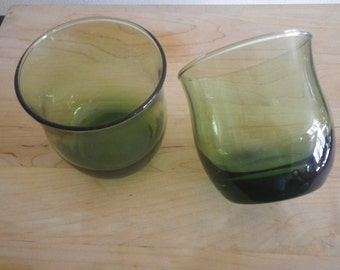 Green Juice Glasses Charming Set of 2 Vintage Small Glass Colored Bell Shaped Emerald No Markings