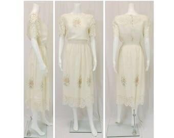 LIBERTY & LUCREZIA Ivory Linen and Lace Dress Size Medium 8/10