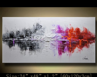 Abstract Wall Painting, expressionism Textured Painting,Impasto Landscape Painting  ,Palette Knife Painting on Canvas by Chen 1207