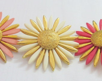 3 Large Vintage Assorted Sunflower Shape Button with Gold Center Assorted Color  Petals - 37 mm